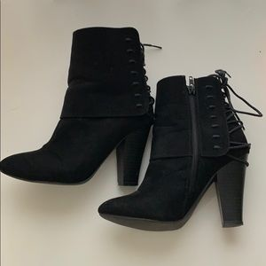 Black strappy heeled booties